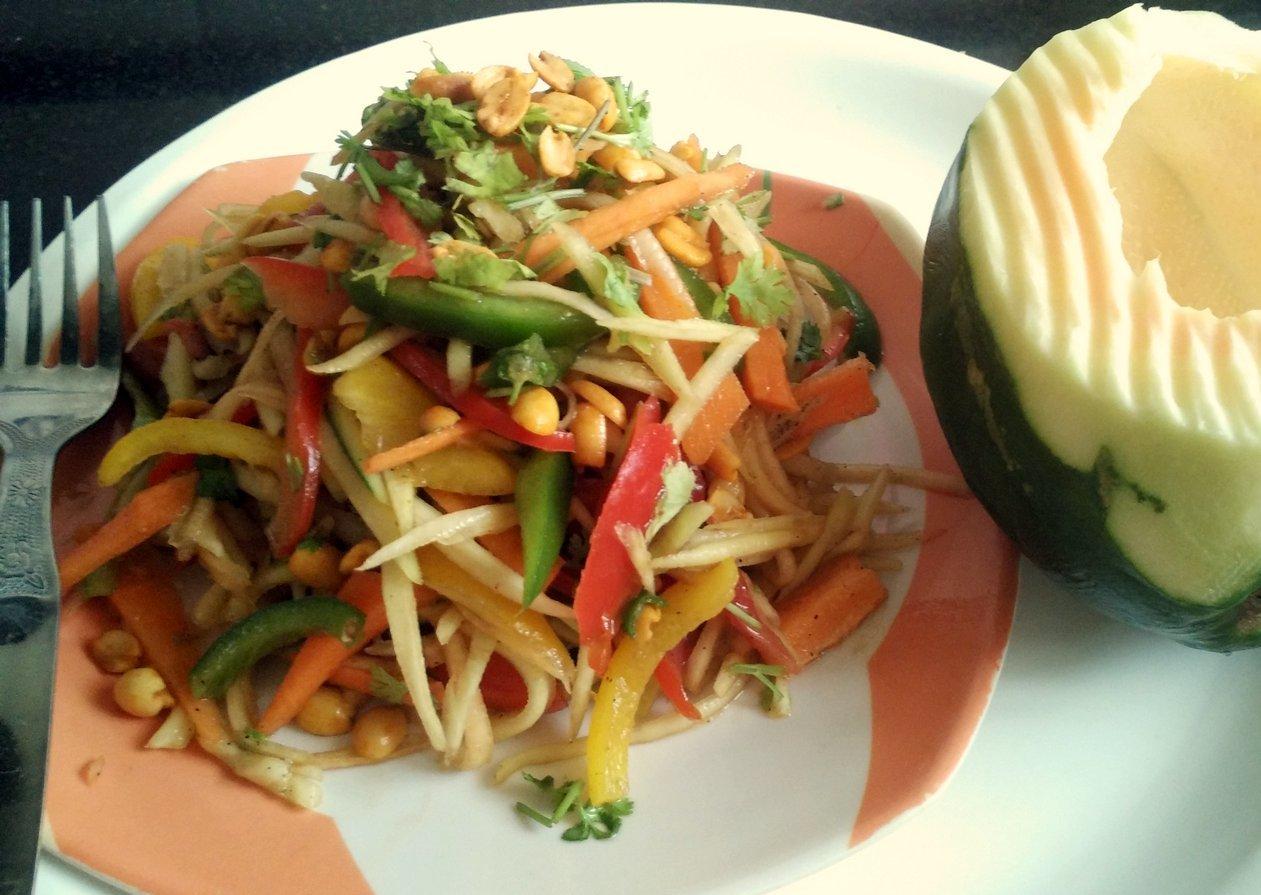 Thai veg papaya salad recipe no onion no garlic by archanas kitchen thai veg papaya salad recipe no onion no garlic forumfinder Image collections