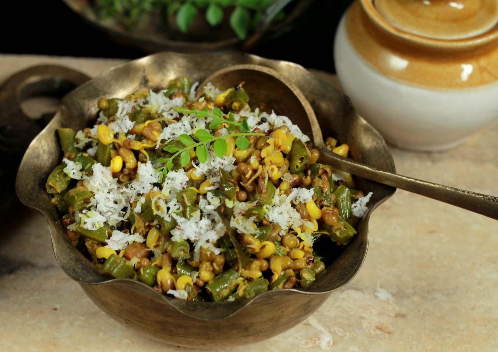 Beans and matki bhaji recipe maharashtrian green beans and beans and matki bhaji recipe maharashtrian green beans and sprouted moth beans forumfinder Images