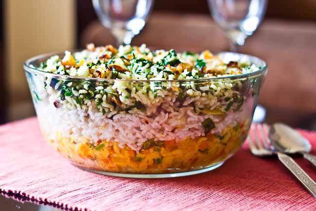Layered vegetable tricolor biryani recipe by archanas kitchen layered vegetable tricolor biryani recipe forumfinder Choice Image