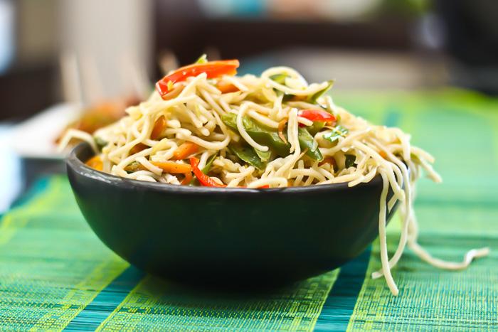 Vegetarian Hakka Noodles Chinese Chow Mein Recipe