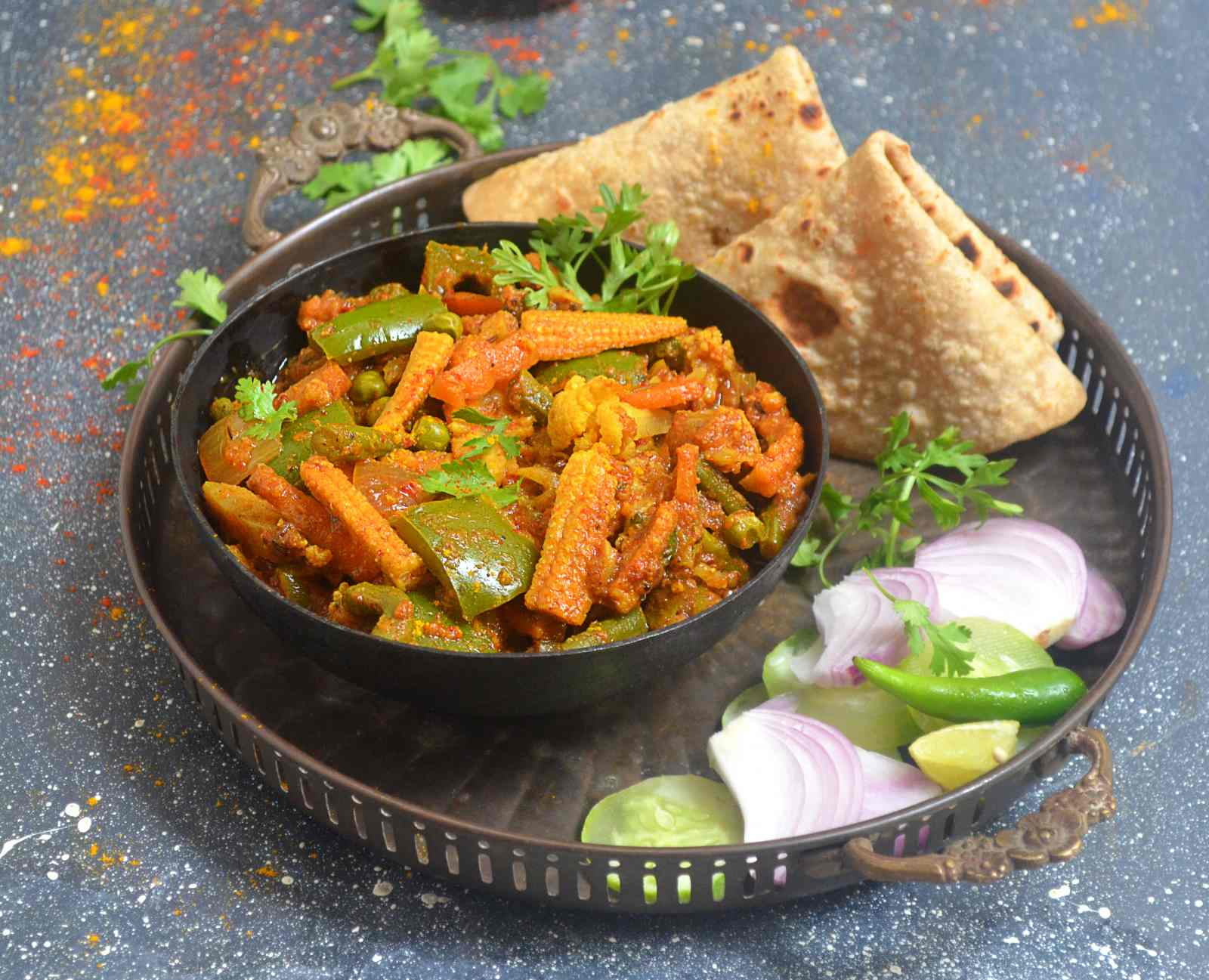 Punjabi mixed vegetable kadai recipe by archanas kitchen punjabi mixed vegetable kadai is a popular restaurant style side dish that goes well with phulka paratha naan or any indian bread forumfinder Images