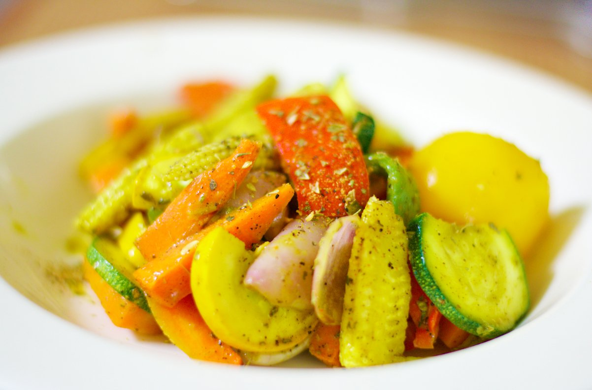 Baked vegetable salad recipe by archanas kitchen baked vegetable salad recipe forumfinder Choice Image