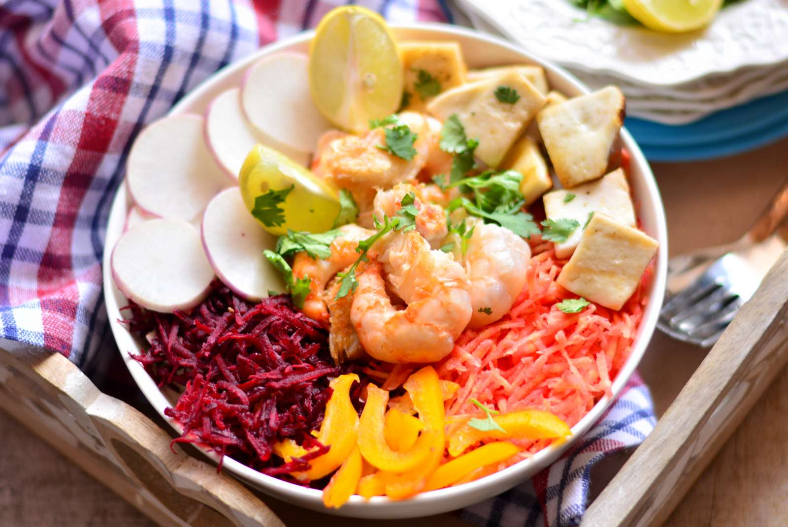tofu u0026 shrimp salad recipe with balsamic dressing by archana u0027s