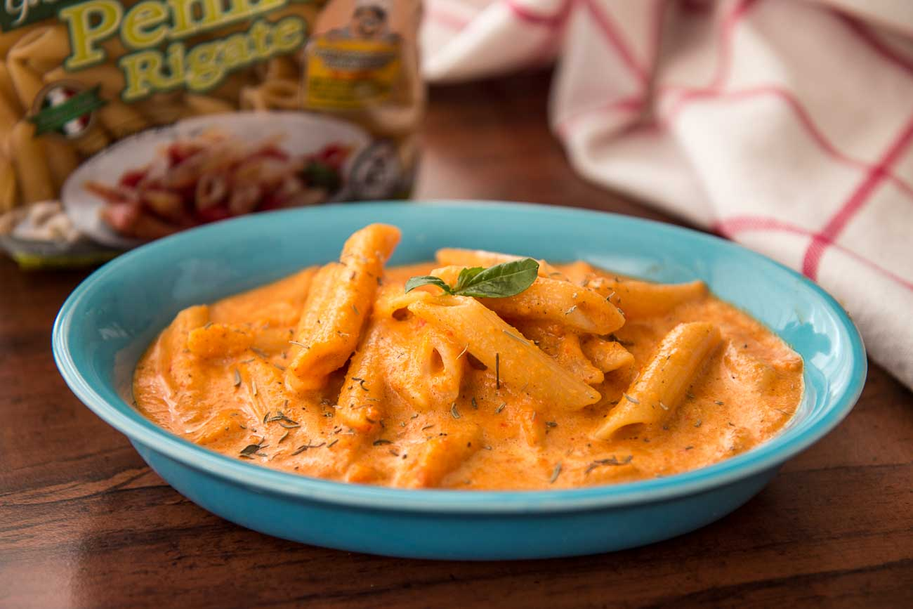 Veggie Penne Pasta Recipe In Creamy Roasted Carrot Sauce