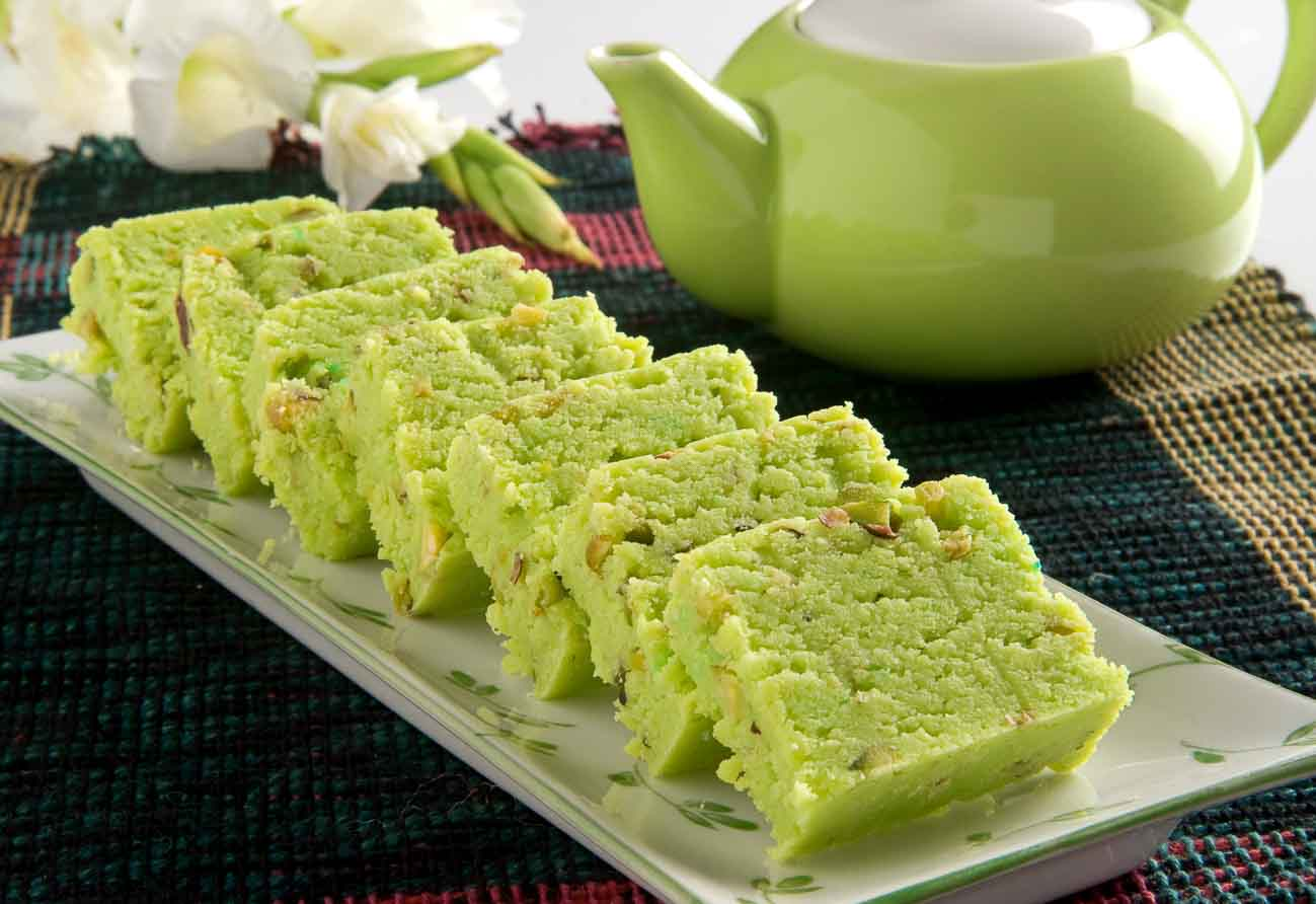 pista burfi recipe (indian spiced pistachio fudge)archana's