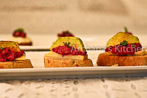 Beetroot Dip Crostini