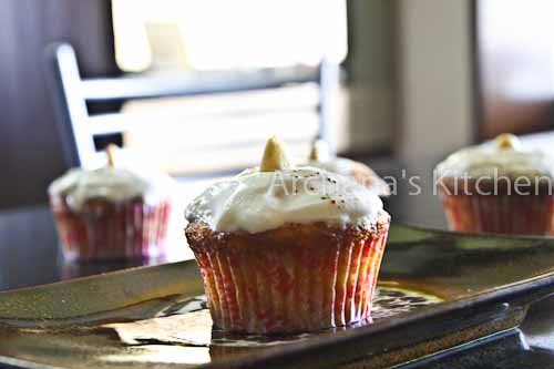 Carrot Cup Cakes with Cream Cheese Frosting and Almonds