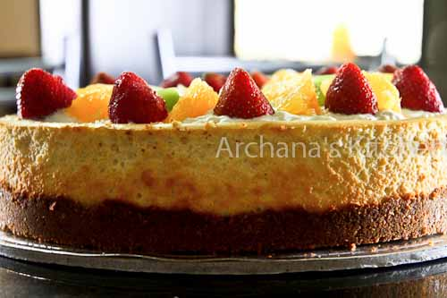 New York Style Cheesecake topped with Fresh Fruits