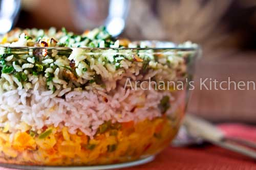 All Natural Tricolor Vegetarian Biriyani - Indian Independence Day Special