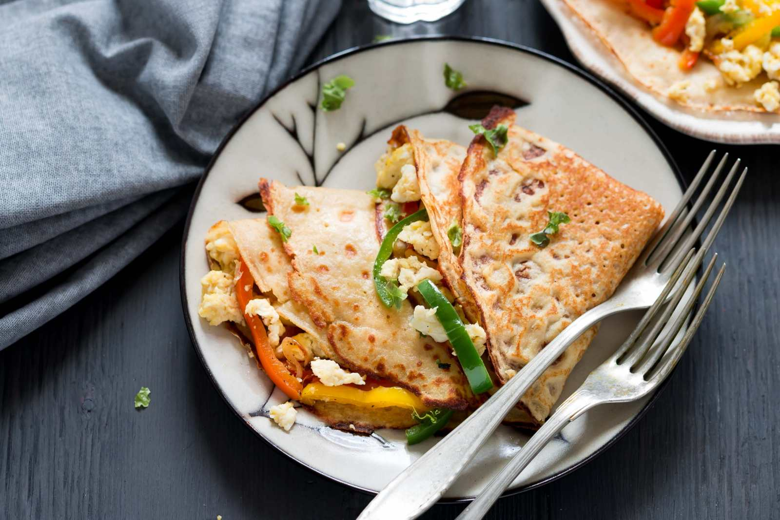 Whole Wheat Crepe With Eggs And Roasted Peppers Recipe