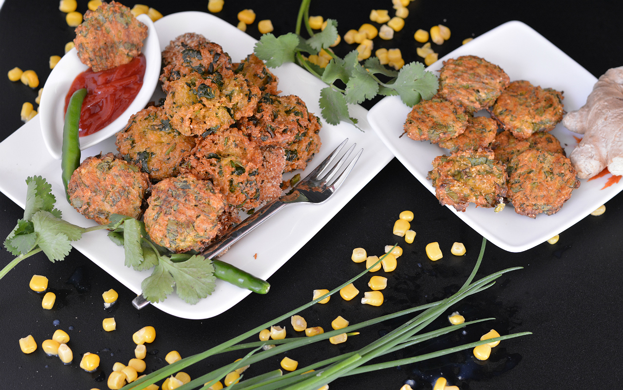 Spicy Sweet Corn & Oat Fritters Recipe – Corn Masala Vada