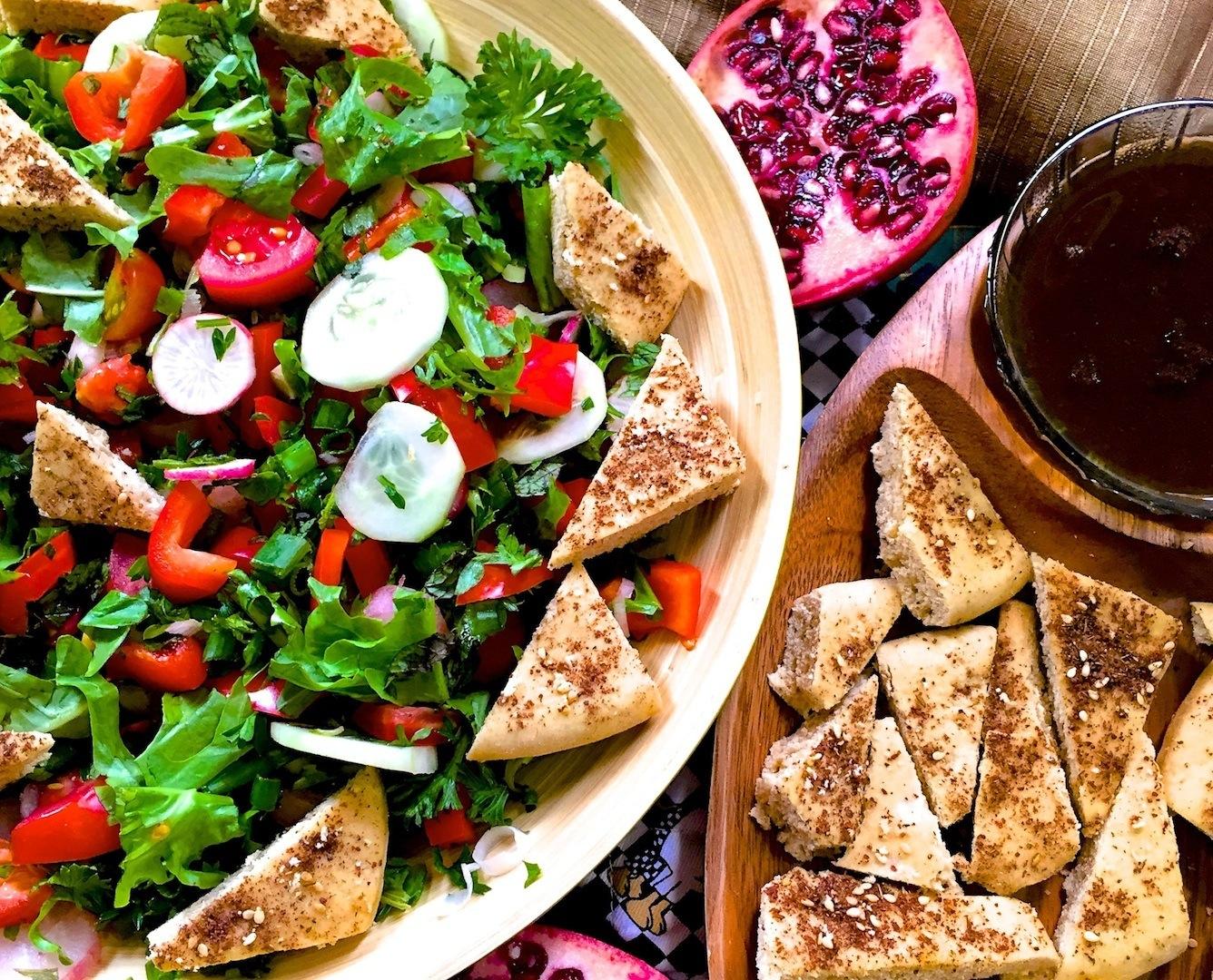 Fattoush With Za'atar, Sumac and Pomegranate Molasses Recipe – Traditional Lebanese Salad