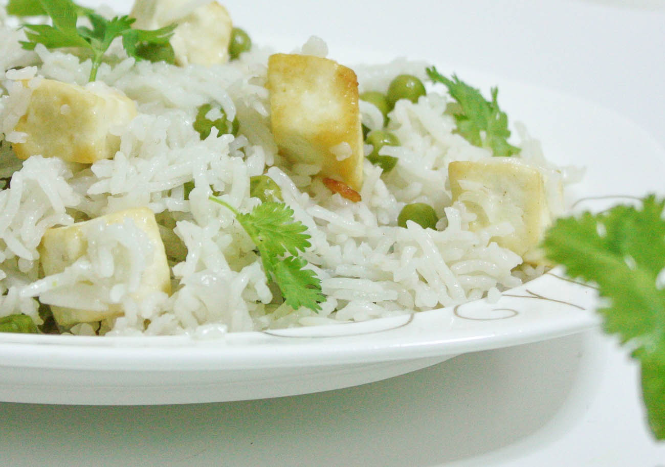 Paneer Pulao With Green Peas Recipe