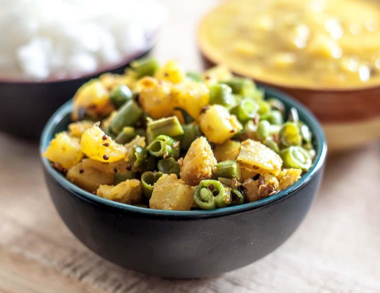 Shakarkand Beans Subzi Recipe (Spicy Sweet Potato Beans Stir fry)