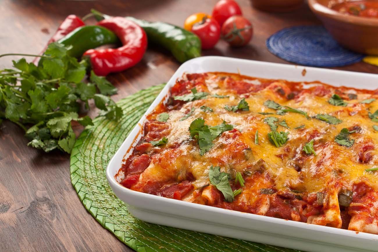 Mexican Vegetarian Bean & Cheese Enchiladas Recipe