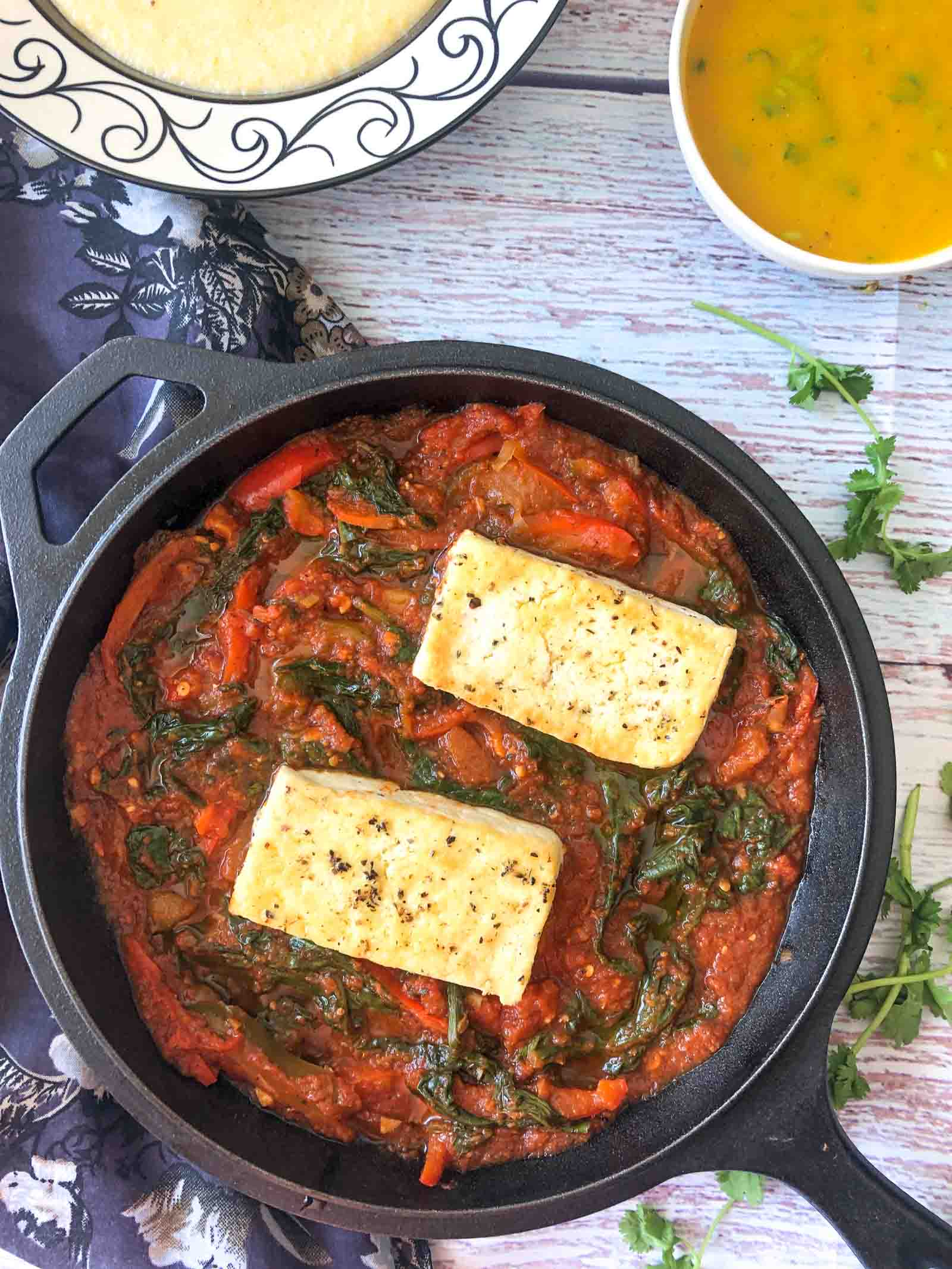 Herbed Tofu & Spinach In Tomato Basil Sauce Recipe
