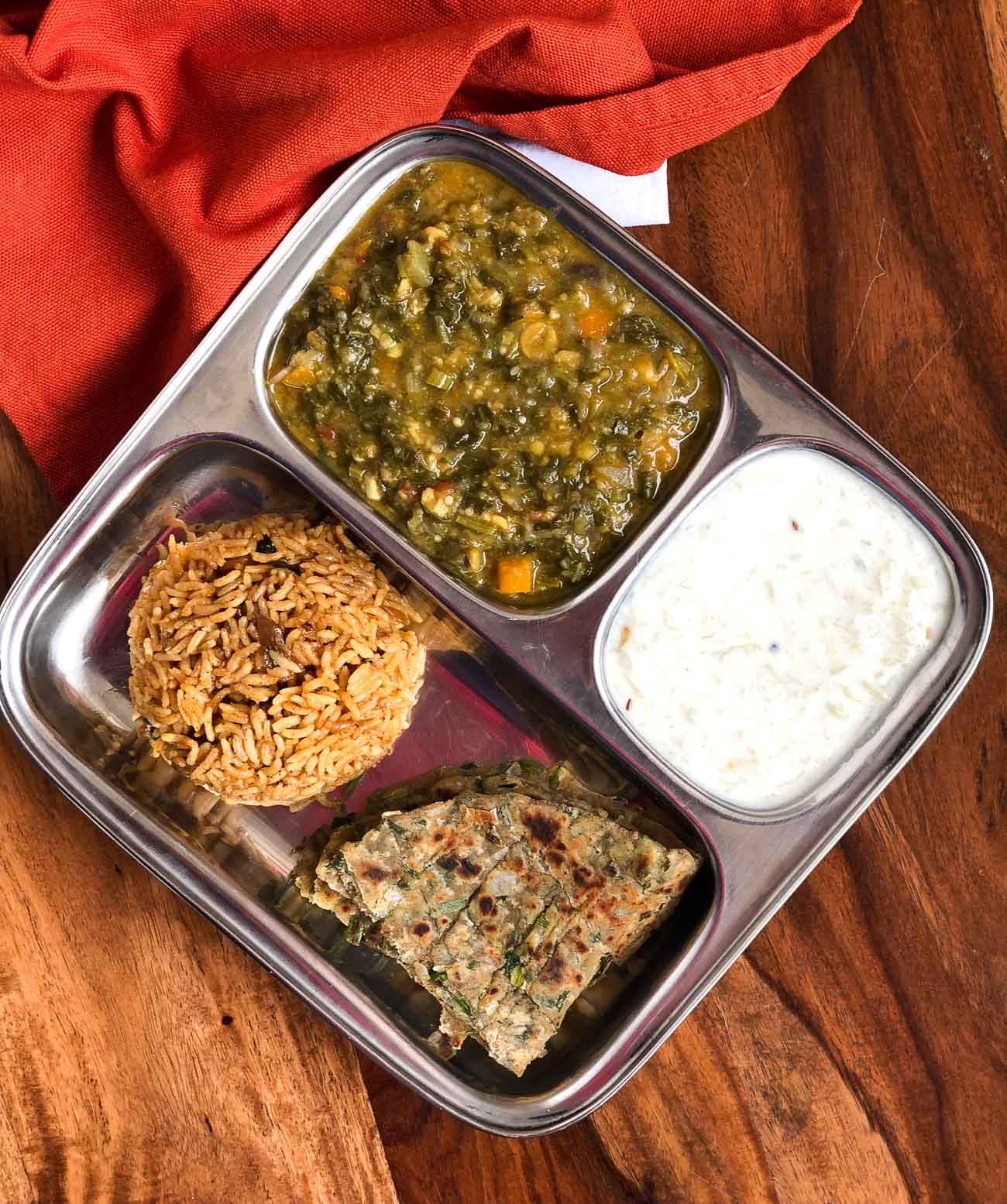 Portion Control Meal Plate Sai Bhaji Lauki Raita Koki Roti u0026 Bhuga Chawal & Portion Control Meal Plate: Sai Bhaji Lauki Raita Koki Roti ...