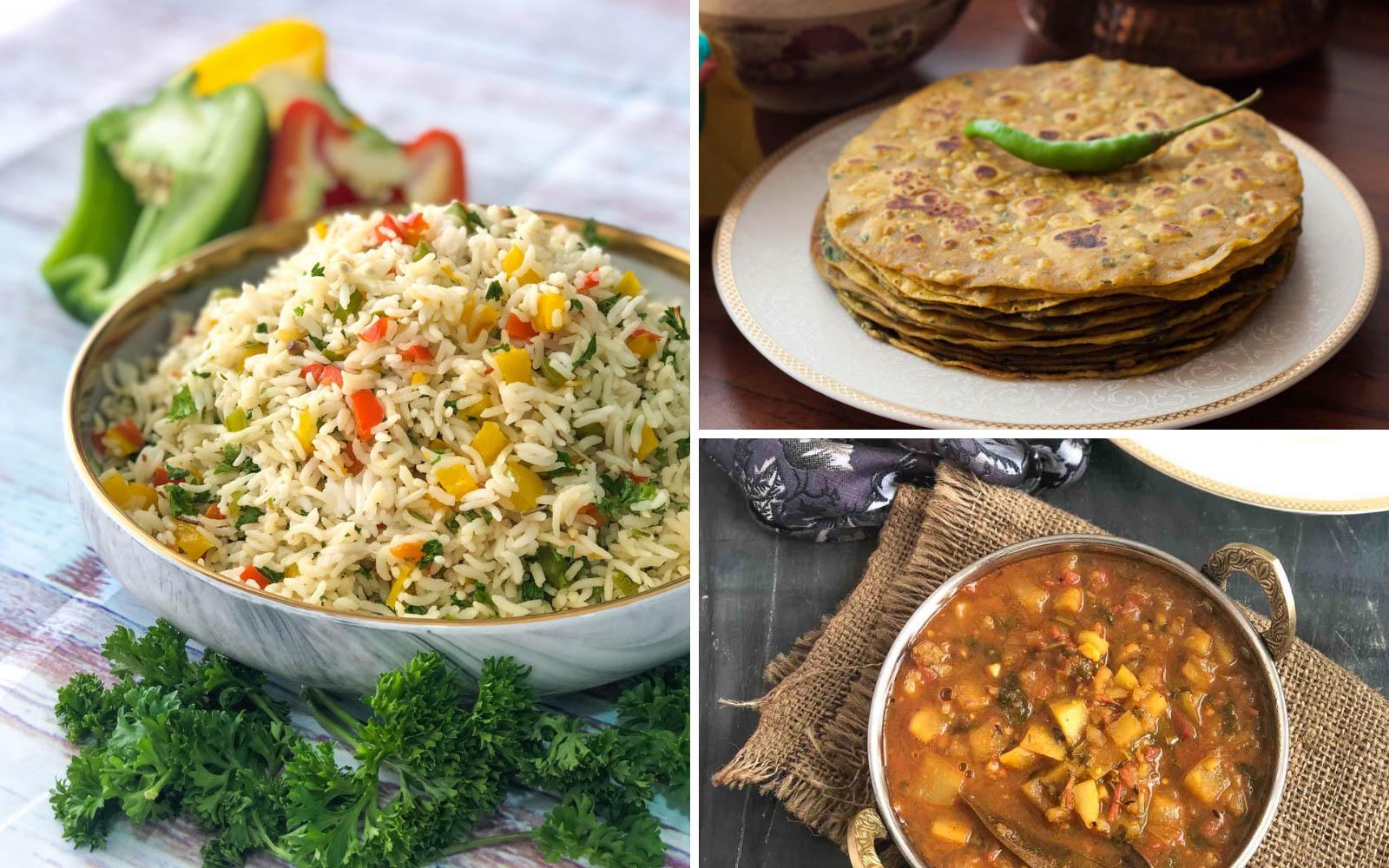 Kids Lunch Box Menu Plan-Veggie Rava Idli, Aloo Raswala Sabzi, Bell pepper Rice & More