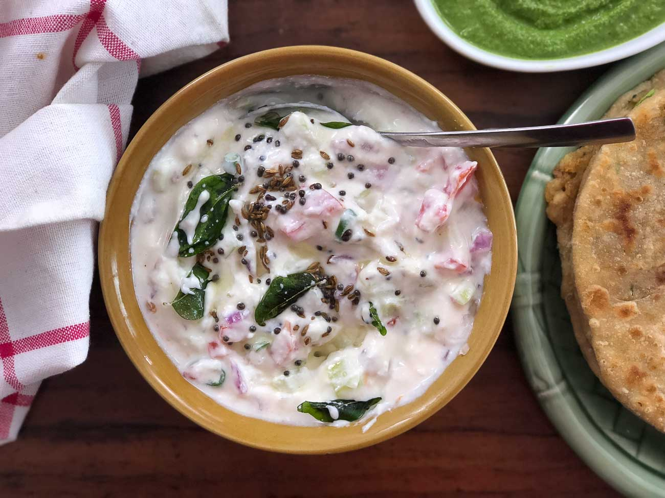 Tomato Onion Tadka Raita
