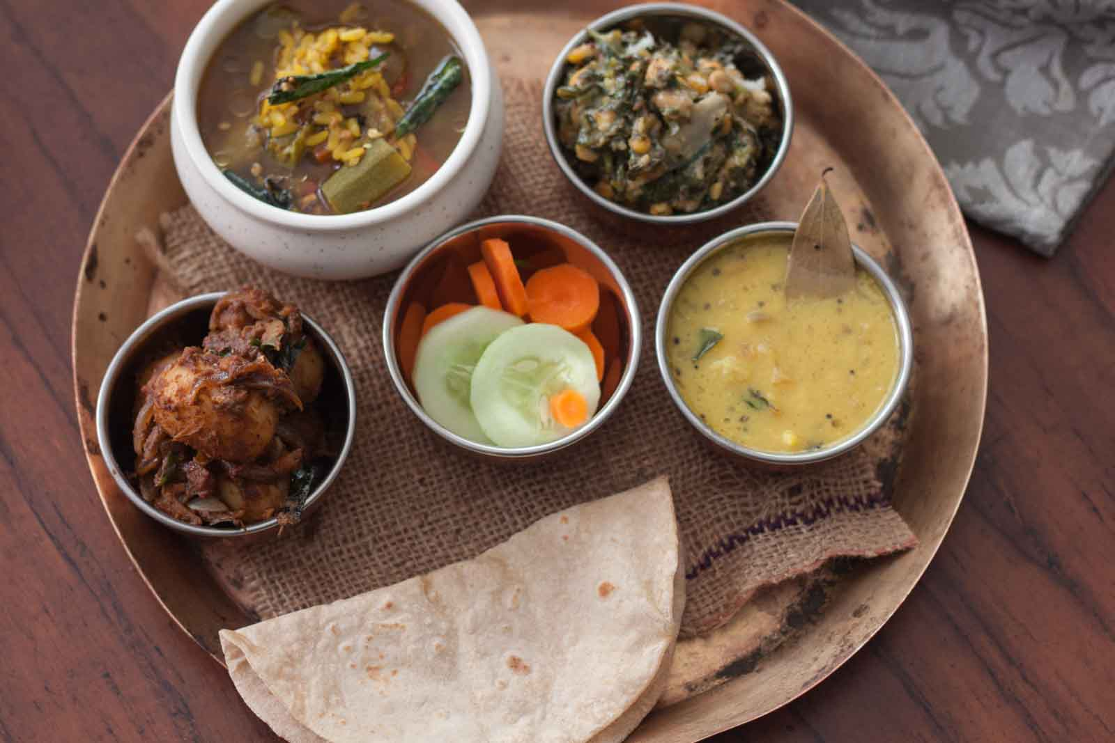 everyday meal plate with tharvani charu urali roast and more 2