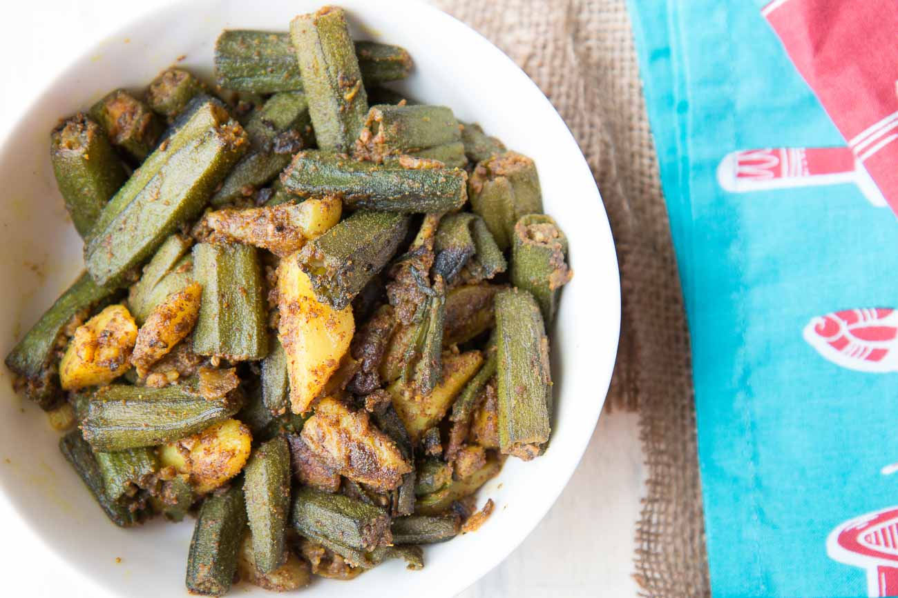 Aloo Bhindi Recipe Flavored With Mustard And Poppy Seeds