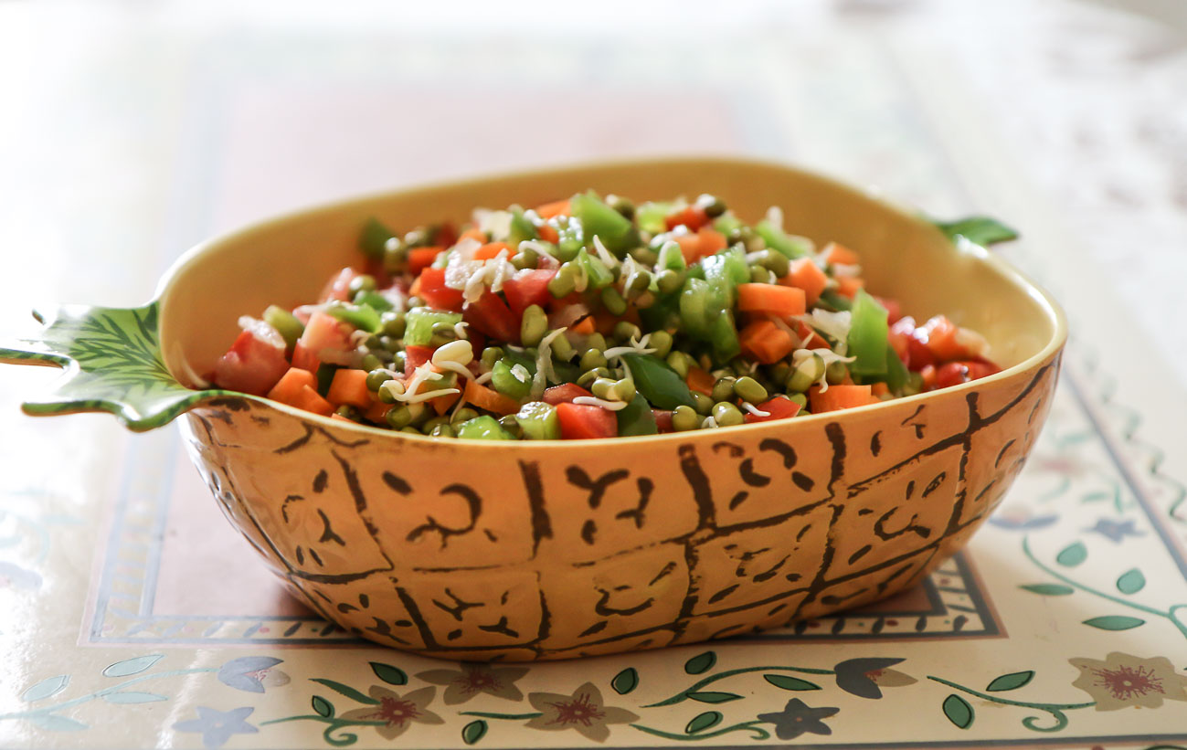 Green Moong Sprout Salad Recipe With Vegetables- No Onion No Garlic