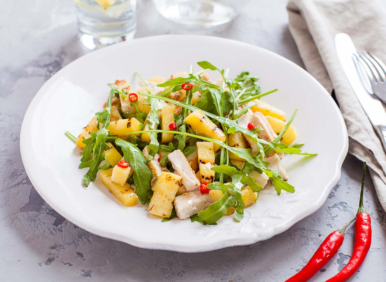 Grilled Pineapple and Chicken Salad Recipe- Tangy Summer Salad