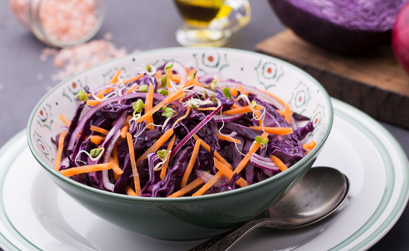 Red Cabbage Carrot, Sprout And Onion Salad Recipe