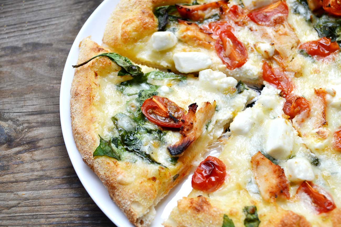 Spinach Pizza With Sun Dried Tomatoes & Feta Cheese