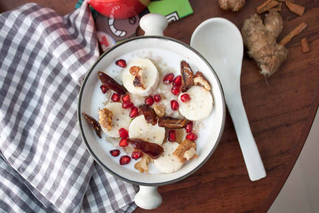 Spiced Coconut Oatmeal With Assorted Fruits Recipe