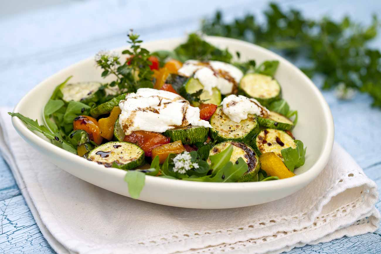 Roasted Mushroom Zucchini Salad Recipe with Goat Cheese