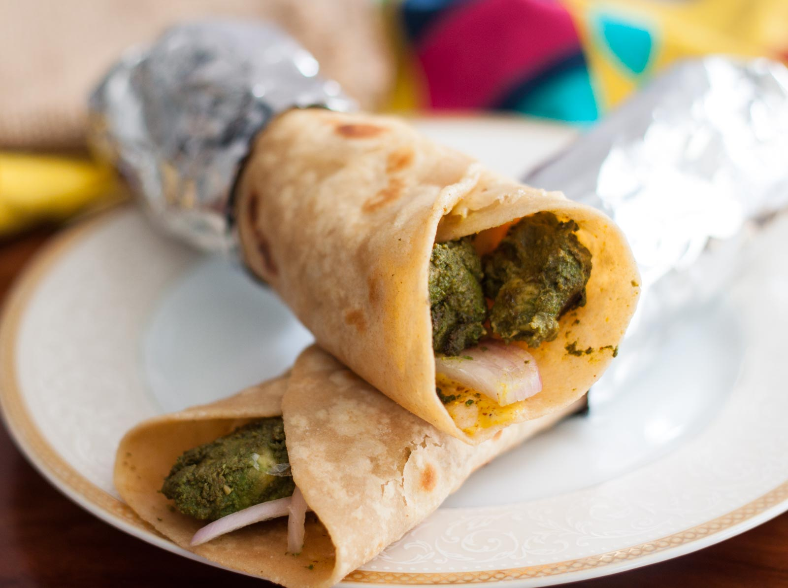 Hariyali Chicken Tikka Wrap Recipe