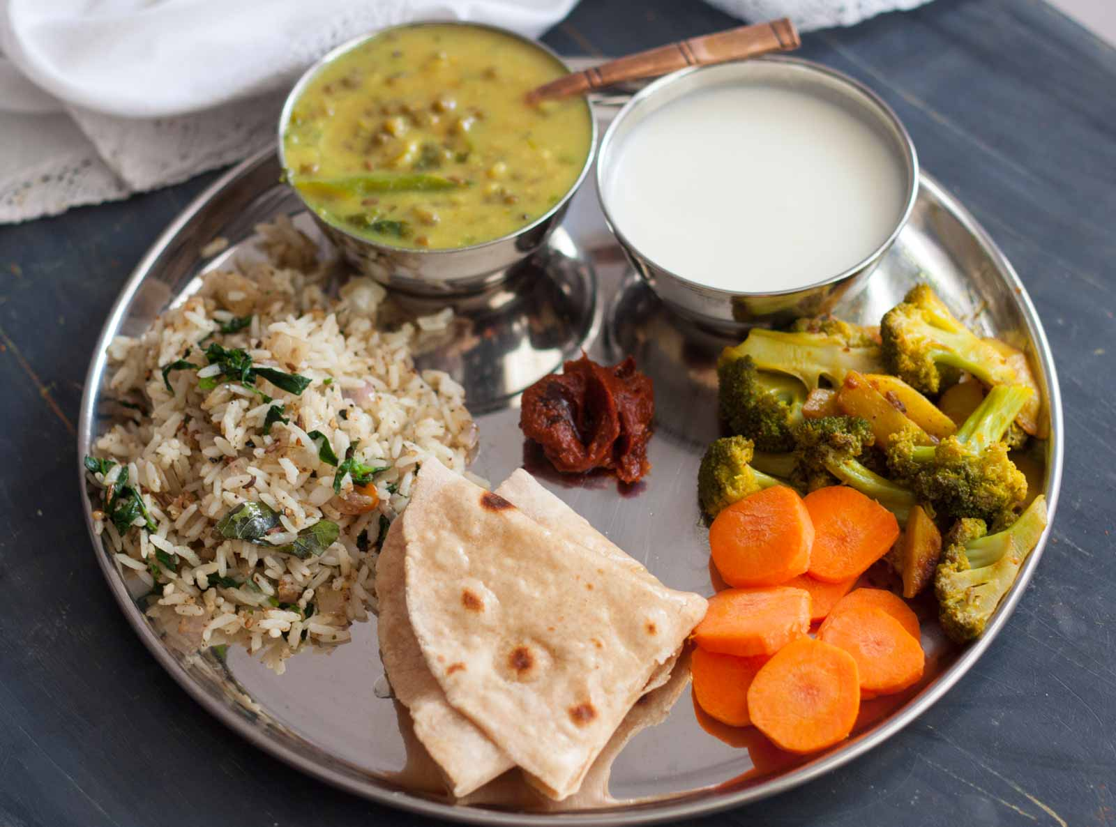 Everyday meal ideas by archanas kitchen everyday meal plate sattvik recipes with green mung bean dal broccoli stir fry forumfinder Gallery