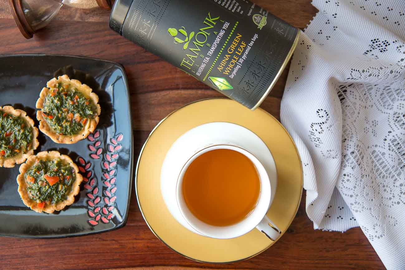 5 Tea Monk Tea Pairing Spinach and Dill Tart With Roasted Peppers Ahina Long Leaf Green Teabags 1