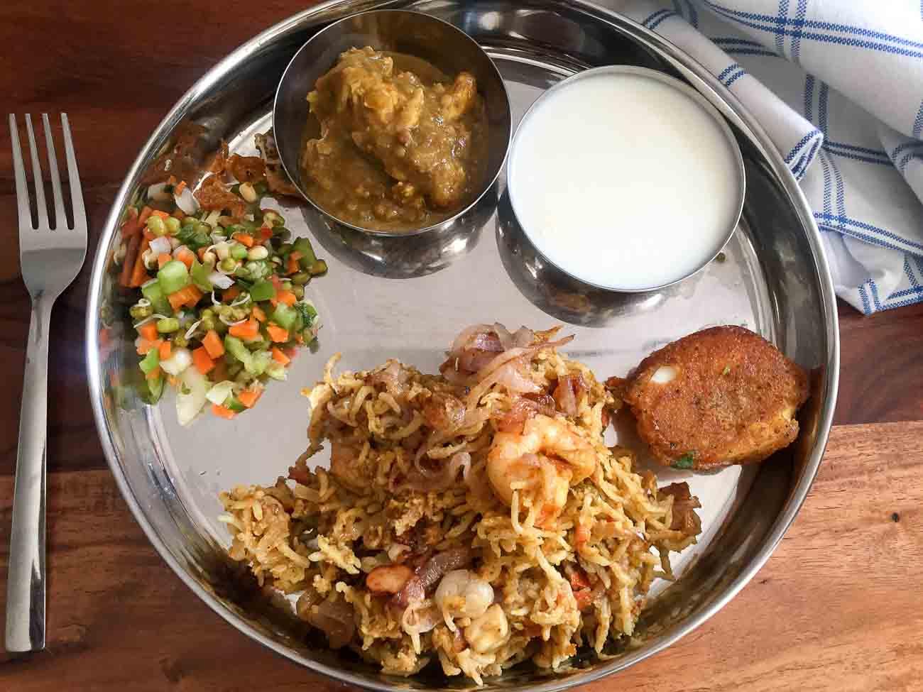 Everyday meal ideas by archanas kitchen everyday meal plate prawn biryani murgh aur masoor dal salad curd forumfinder Gallery