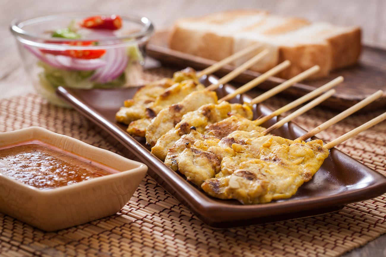 Thai baked chicken satay recipe by archanas kitchen thai baked chicken satay recipe with thai peanut sauce forumfinder Images