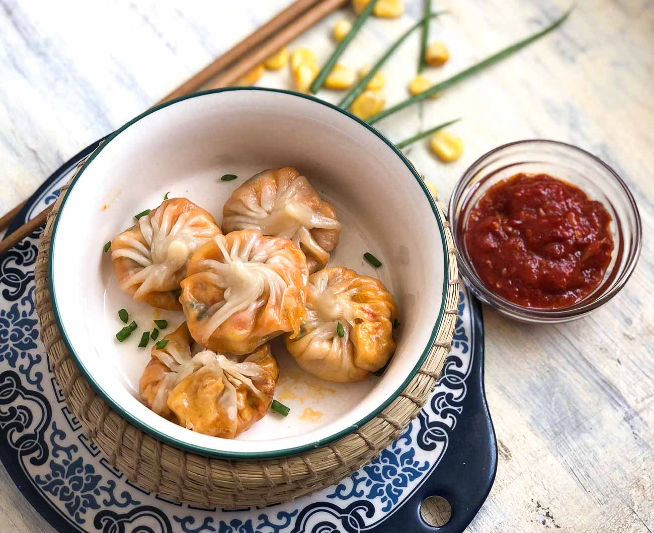 Sweet Corn Spring Onion Momo Recipe - Sweet Corn Dumplings
