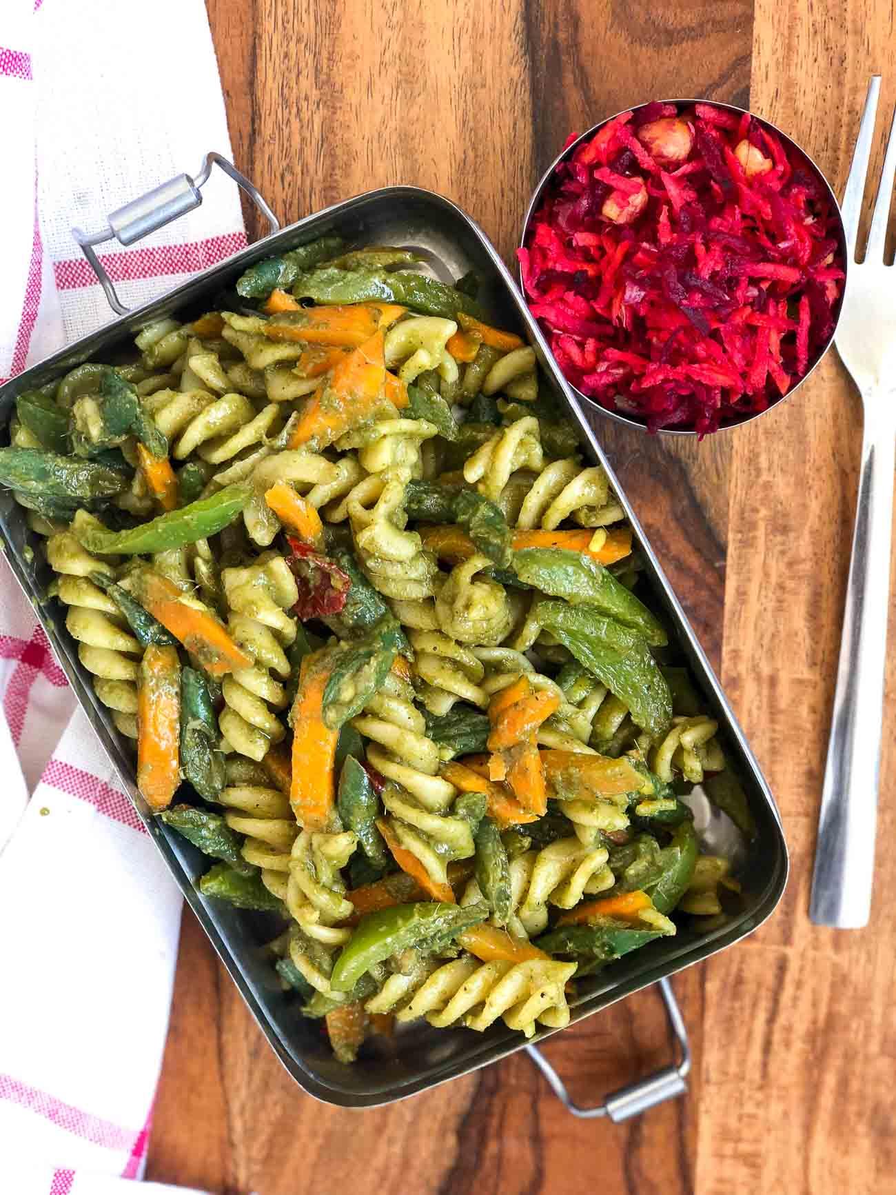 Lunch Box Recipes Lemongrass Pesto Pasta Amp Beetroot Salad