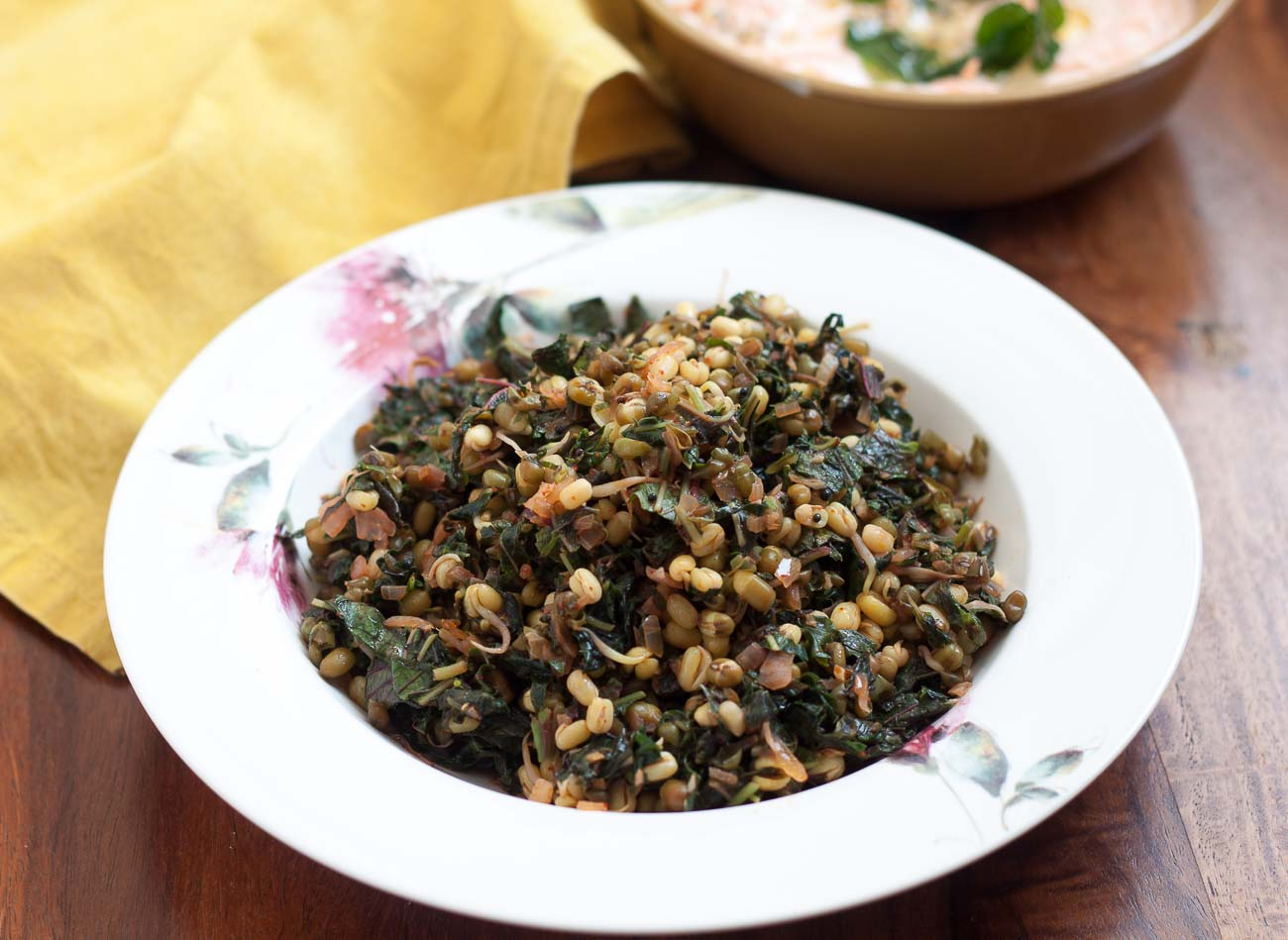 Lal Mathachi Bhaji Recipe - Amaranth Leaves Moong Sprouts Sabzi