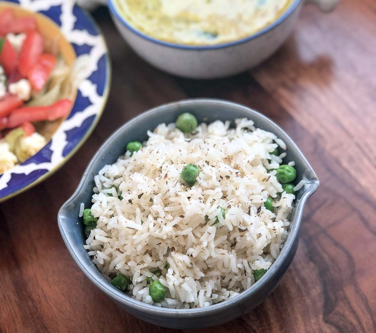 Herbed Buttered Rice Recipe With Green Peas