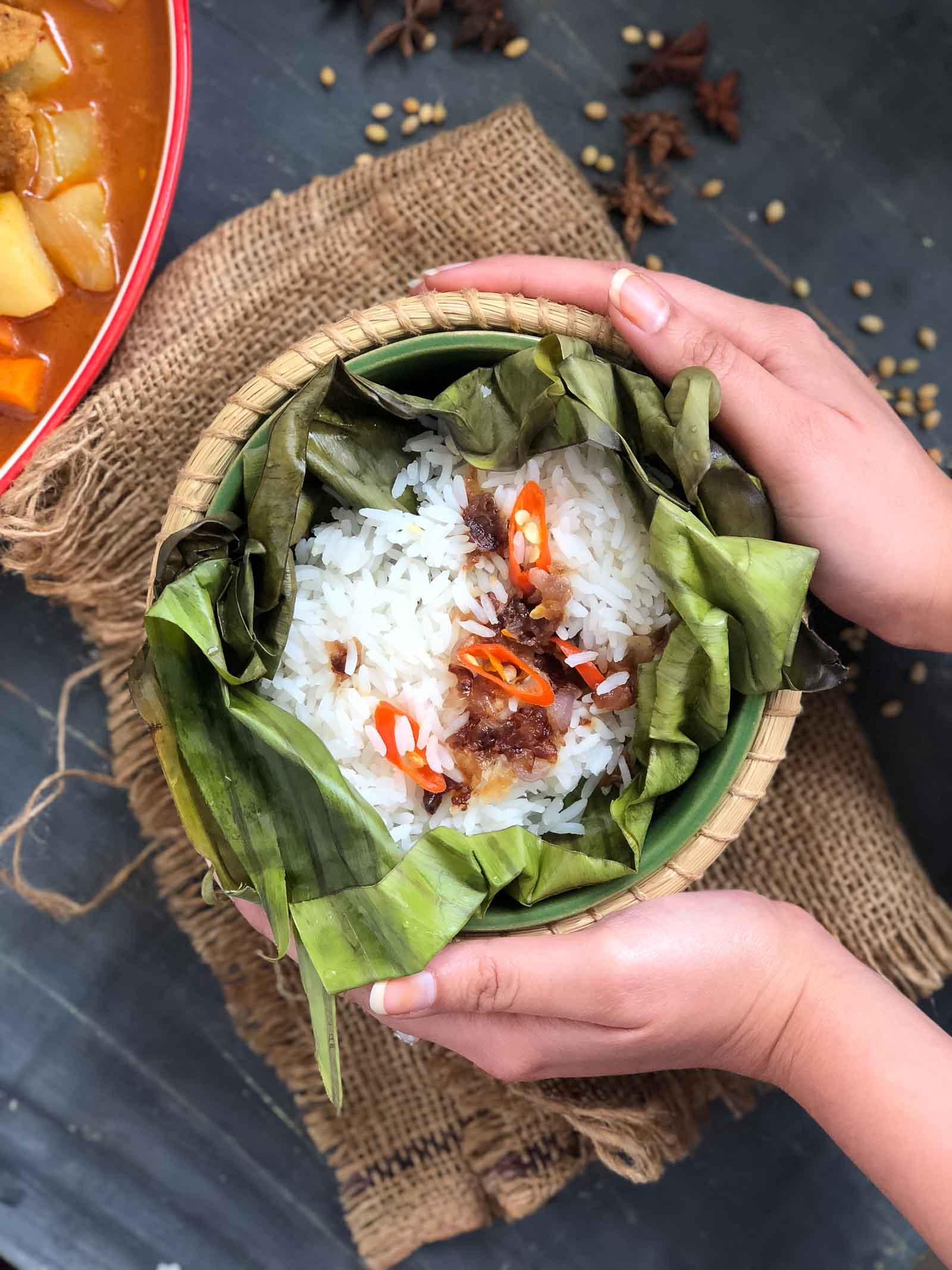 Vietnamese Rice Pocket Recipe With Caramelised Onions & Chillies
