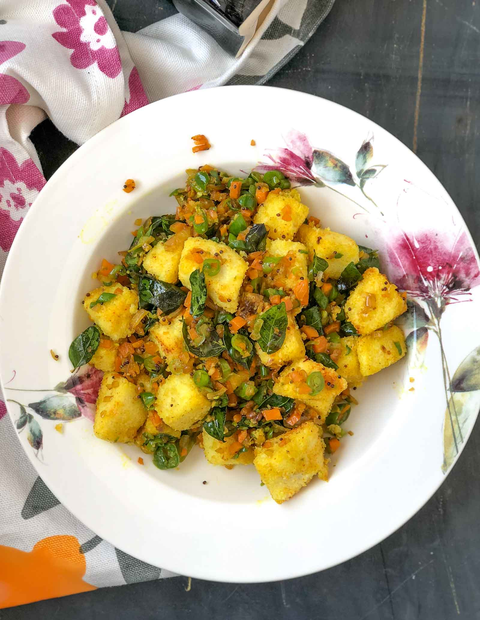 Mixed Vegetable Idli Upma Recipe