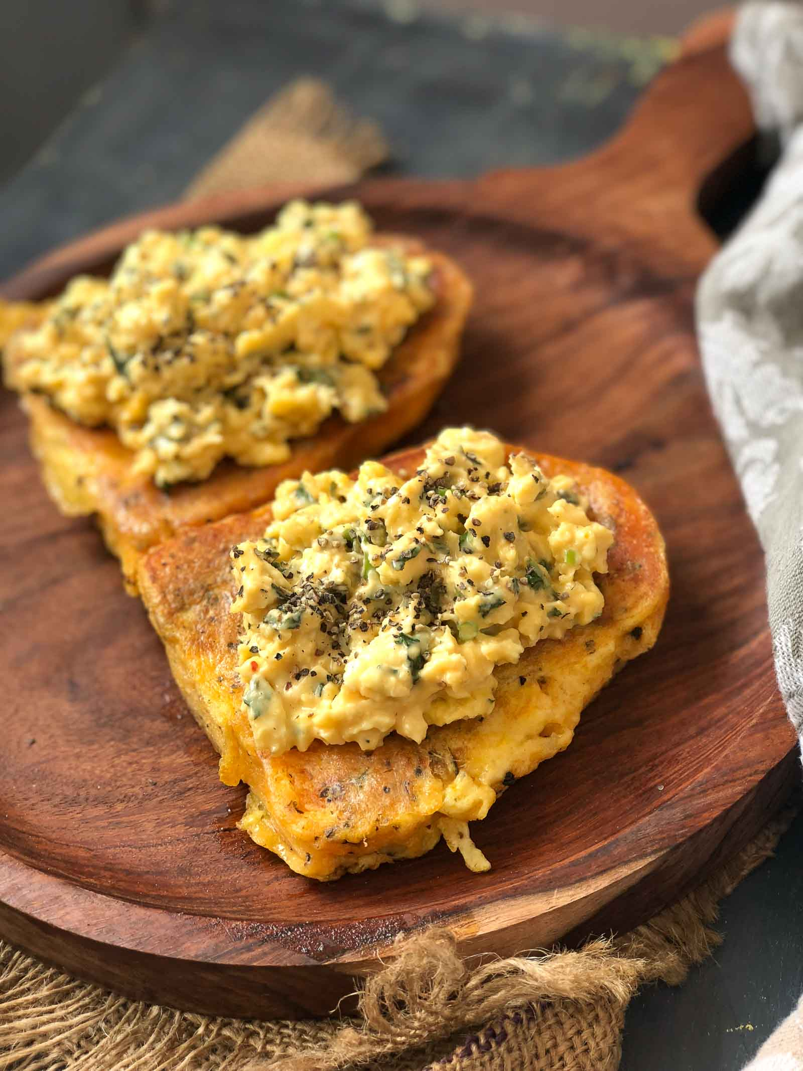 Savory French Toast With Cheesy Garlic Scrambled Eggs