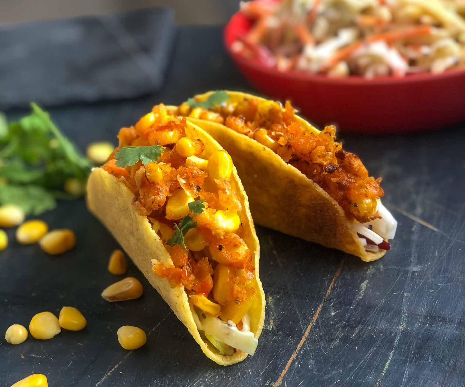 Spicy Tacos With Creamy Apple Slaw & Crispy Sriracha Corn