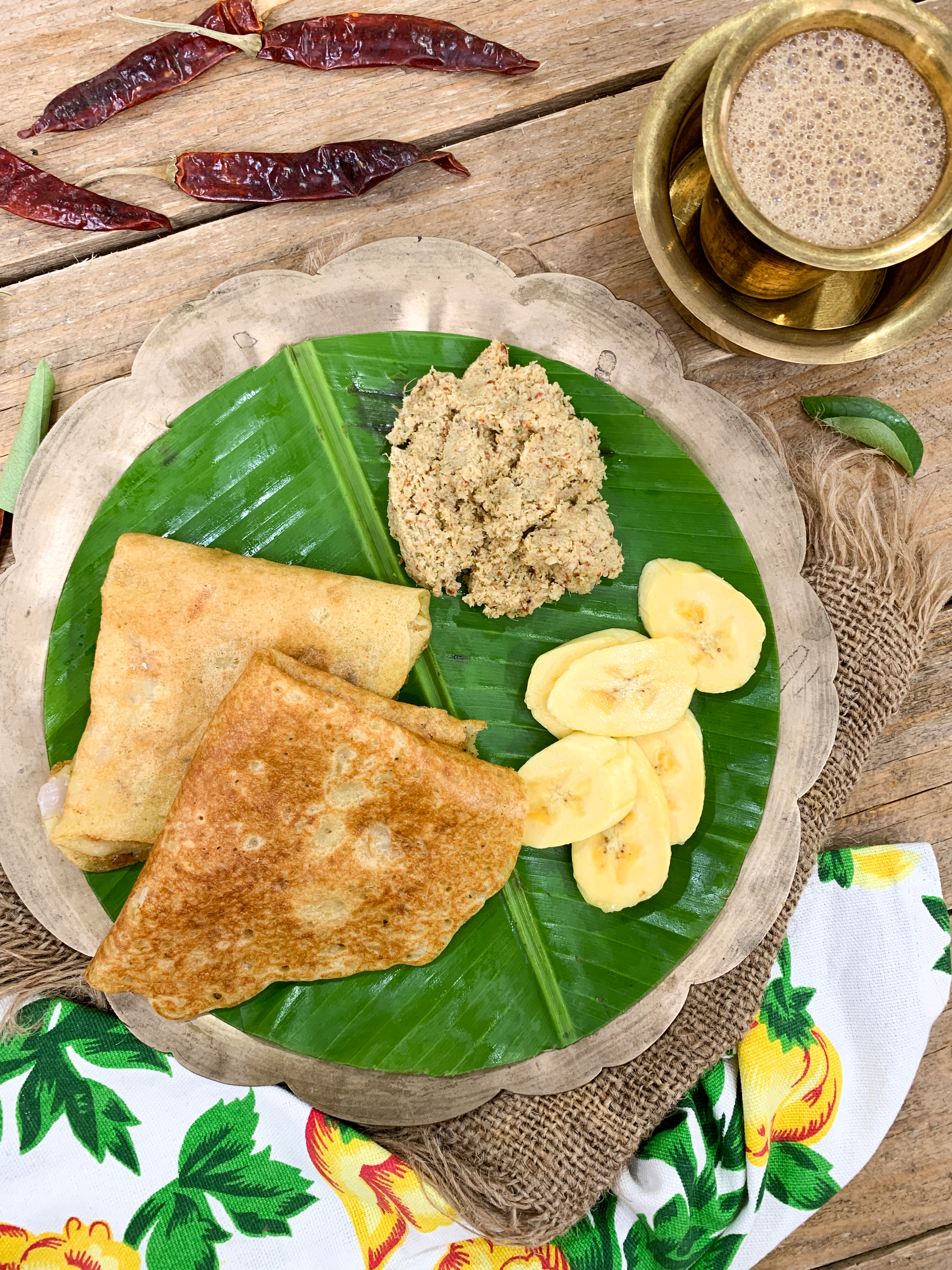 Enjoy A Simple South Indian Breakfast Meal With Adai, Chammanthi Chutney And Filter Coffee