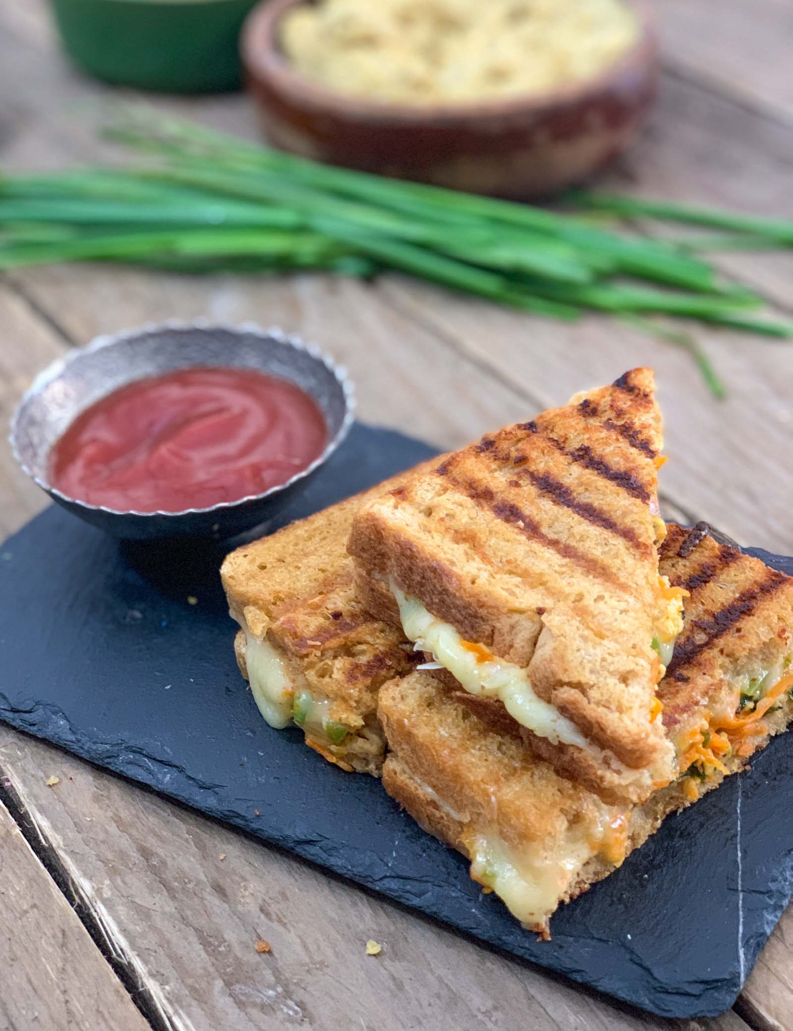 Grilled Hummus Paneer Bhurji Sandwich Recipe