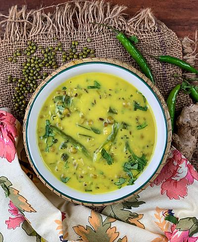 Gujarati Khatta Mag Green Moong In Buttermilk Curry