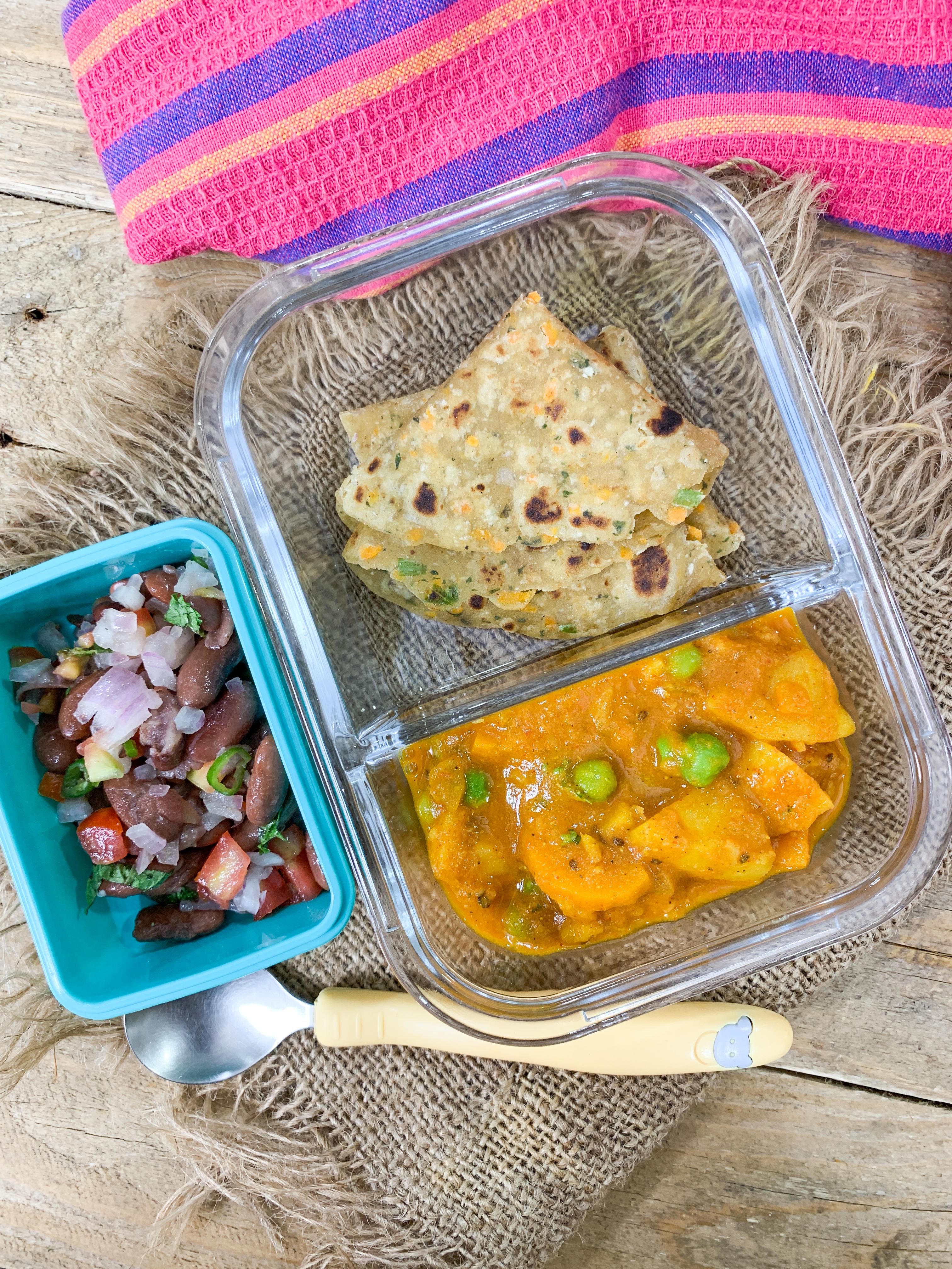 Kids Lunch Box Gajar Aloo Matar Sabzi Cabbage Carrot Paratha And Rajma Salad By Archana S Kitchen
