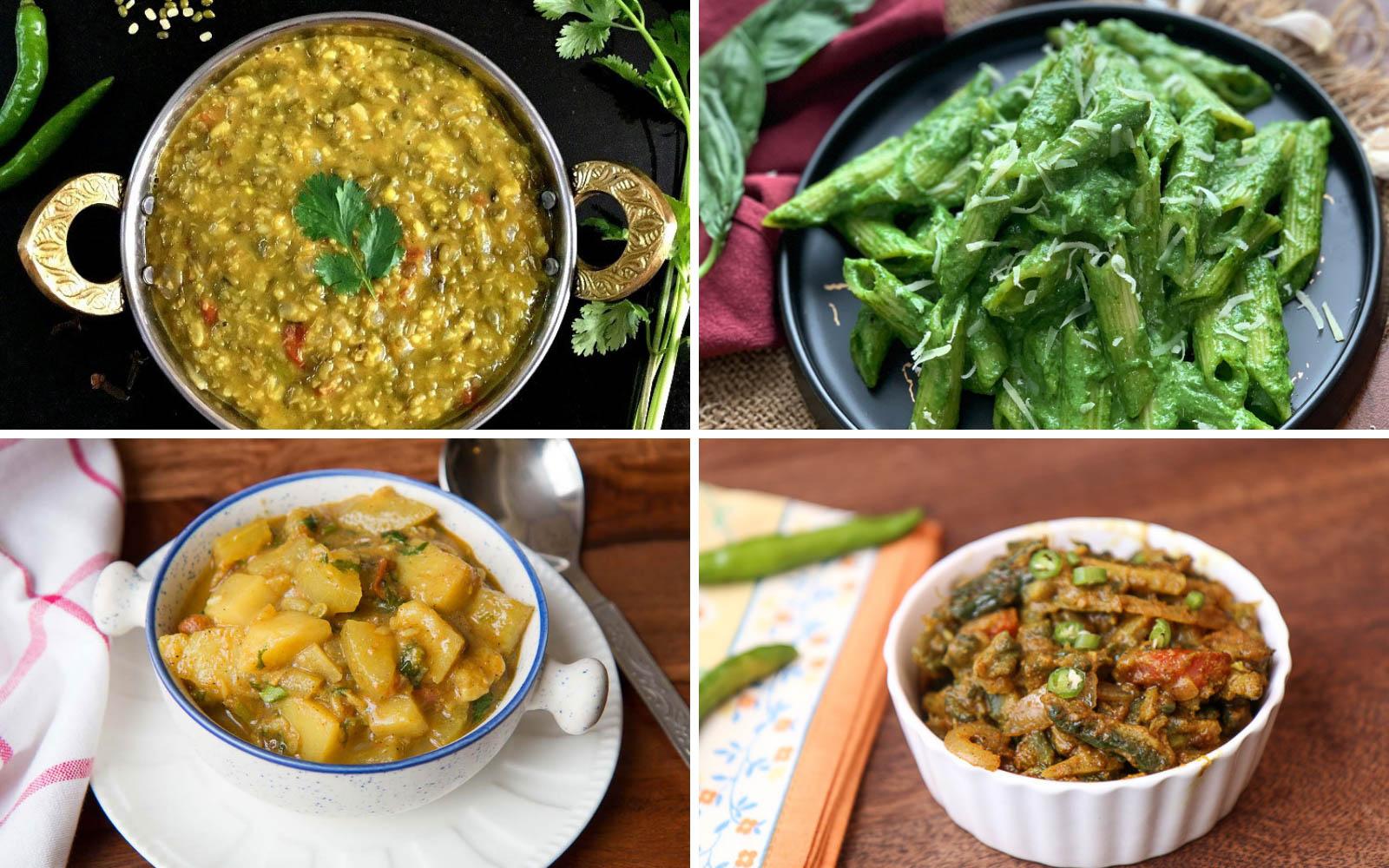 Office Lunch Box Menu Plan-Mung Dal Curry, Lauki Aloo Sabzi, Pasta In Spinach Basil Sauce & More