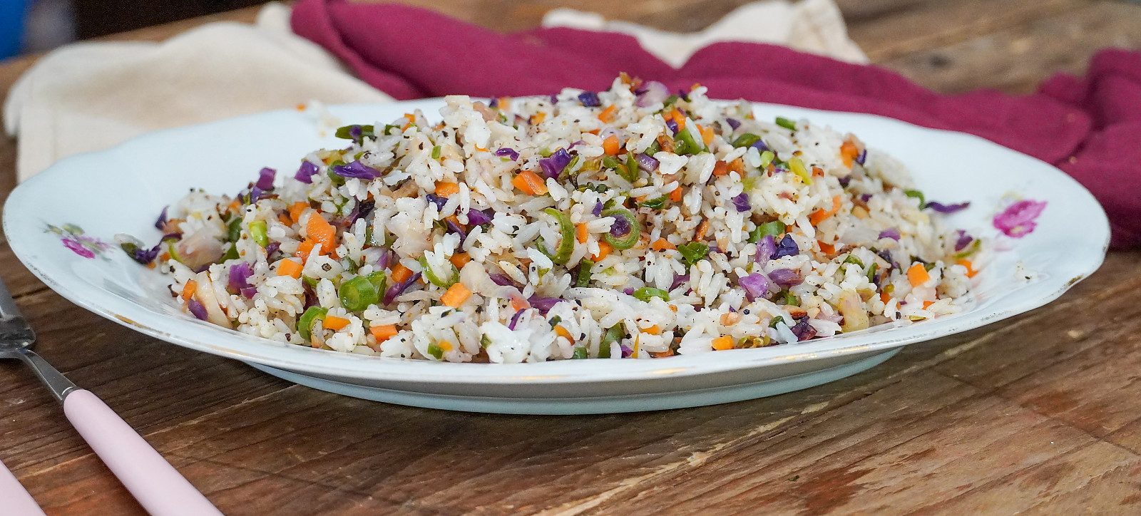 Chinese Vegetable Fried Rice With Red Cabbage/ Purple Cabbage